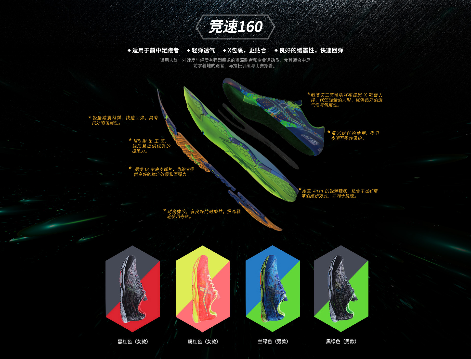 特步马拉松竞速160专业跑鞋