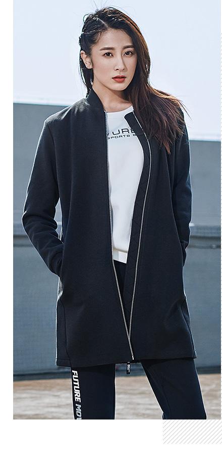 特步女子长款外套