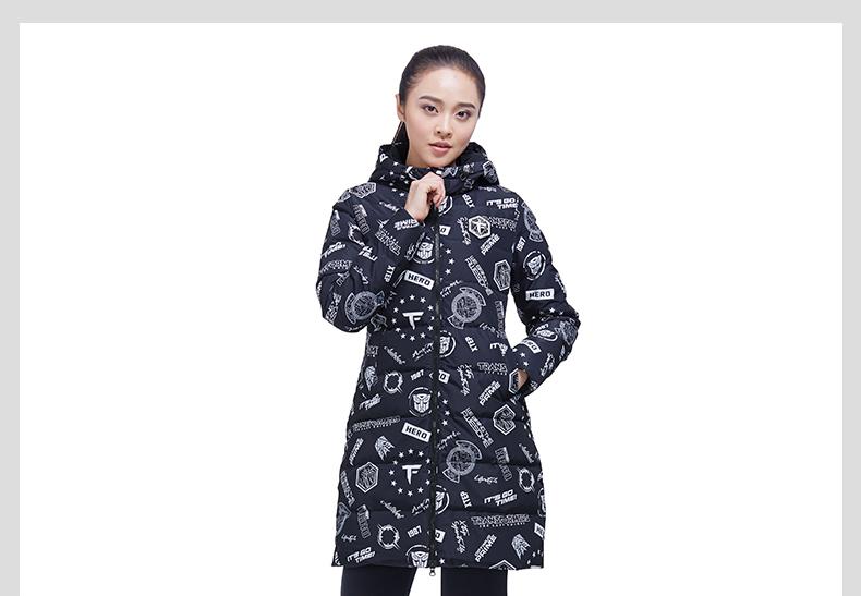 特步 专柜款 女子长款羽绒服 变形金刚赵丽颖同款外套983428190732-