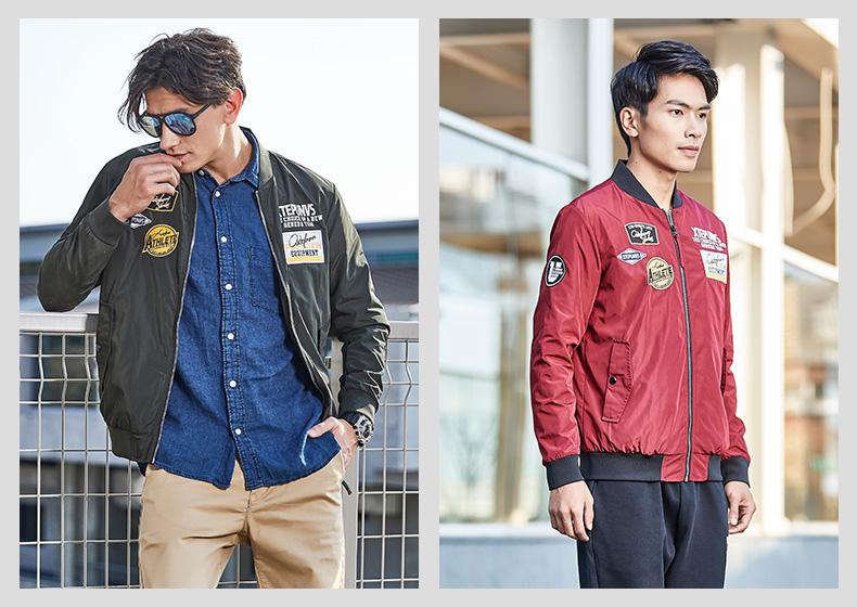 特步 男子双层夹克新品 都市系列时尚保暖棒球领图案印花外套882129129005-