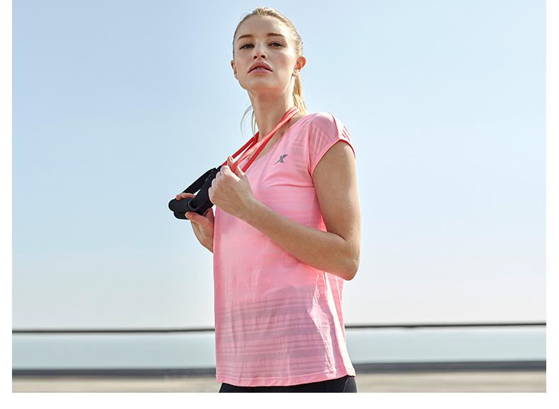 特步 女运动T恤2017春季新品 轻便吸湿排汗女短袖883128019009-