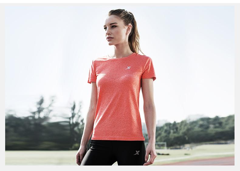 特步 女T恤2017春夏新款 舒适透气圆领女短袖883128019607-