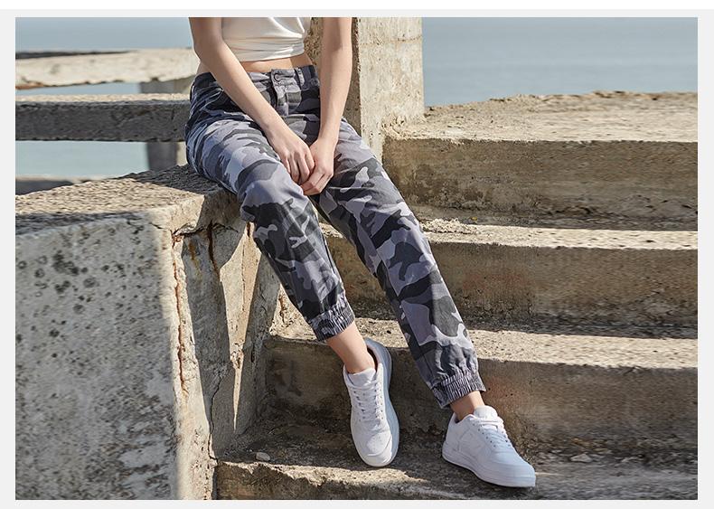 特步 女子运动裤 2017夏季新款 迷彩时尚轻便透气时尚梭织长裤运动裤女裤883128499624-