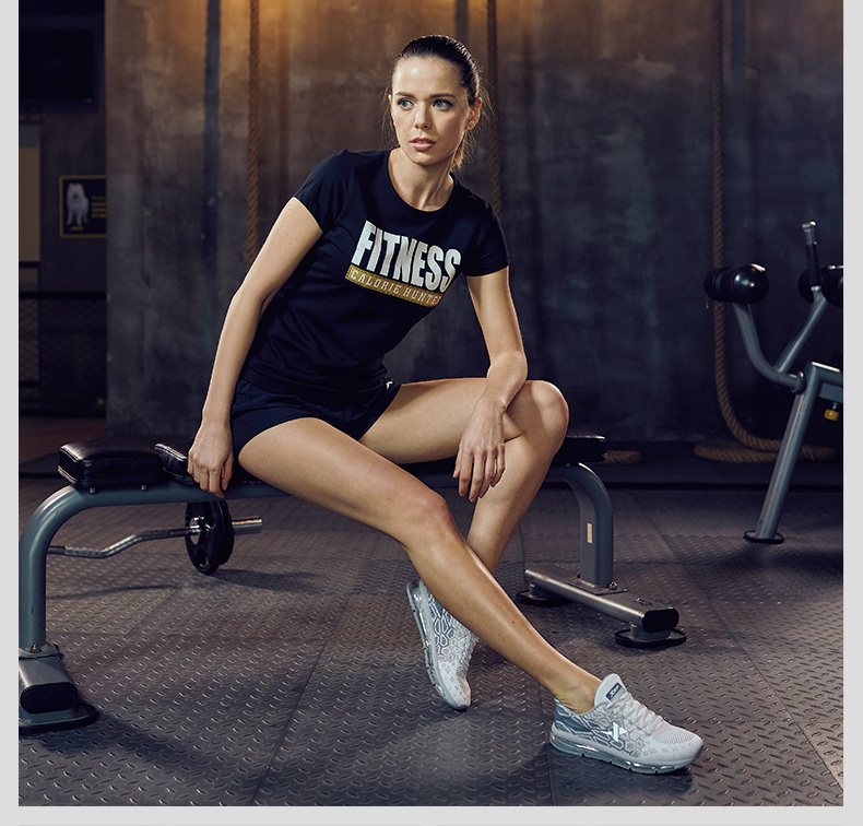 特步 女子夏季T恤 17年新品 跑步健身运动 透气短袖针织衫883228019315-