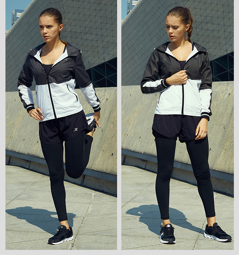 特步 女装运动外套 2017秋季新品 轻便时尚双层运动风衣883328159055-
