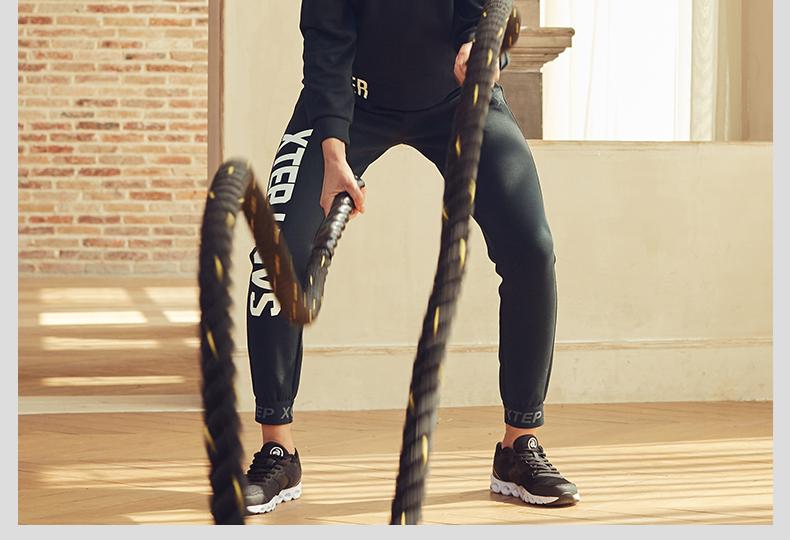 特步 女子针织长裤2017秋冬新款 综训休闲训练生活百搭收脚运动裤883428639014-