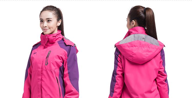 【特步官方商城】女冲锋衣冬季新款保暖舒适女户外运动休闲外套登山服884128439310-