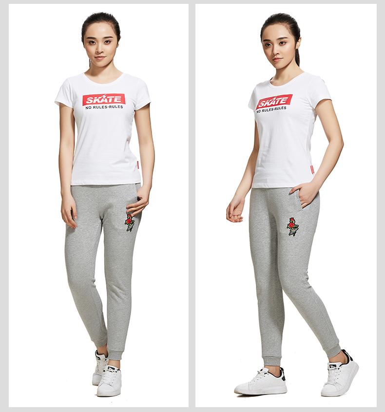 特步 专柜款 女子夏季短袖T恤 街头时尚简约女短袖982228012133-