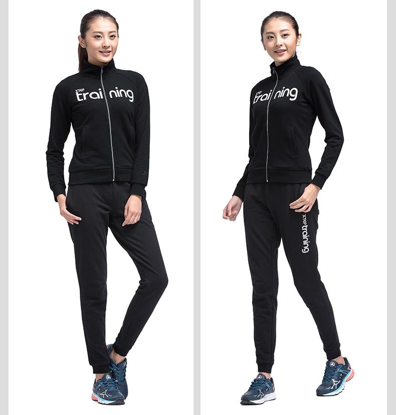 特步专柜同款 女针织上衣2017春季新款 简约百搭字母外套983128061235-