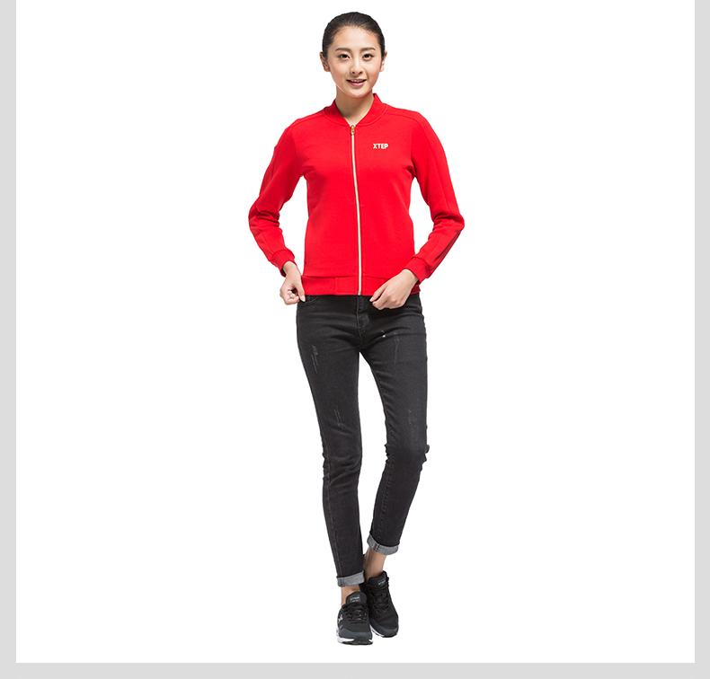 特步 专柜款 女夹克2017春季新款 经典百搭休闲女外套983128061274-