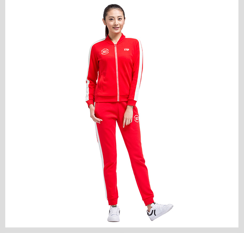 特步 专柜同款 17年女子针织上衣 简约百搭休闲运动外套983128061281-