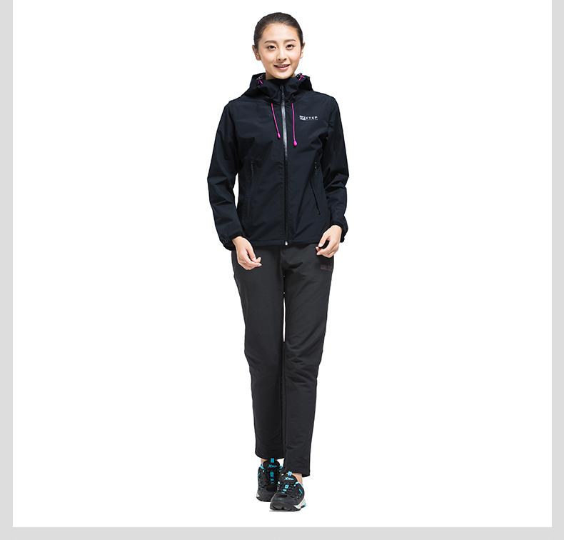 特步 专柜款 女单件户外风衣17春季新品 防风舒适室外女运动外套983128220009-