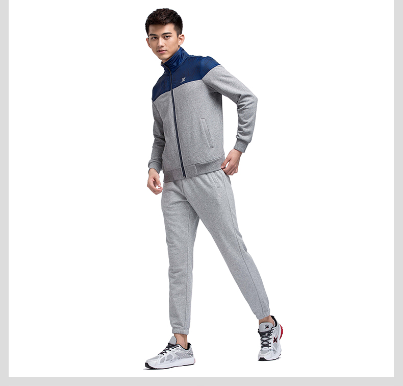 特步专柜同款 男针织上衣2017春季新款 轻便舒适男外套983129061244-