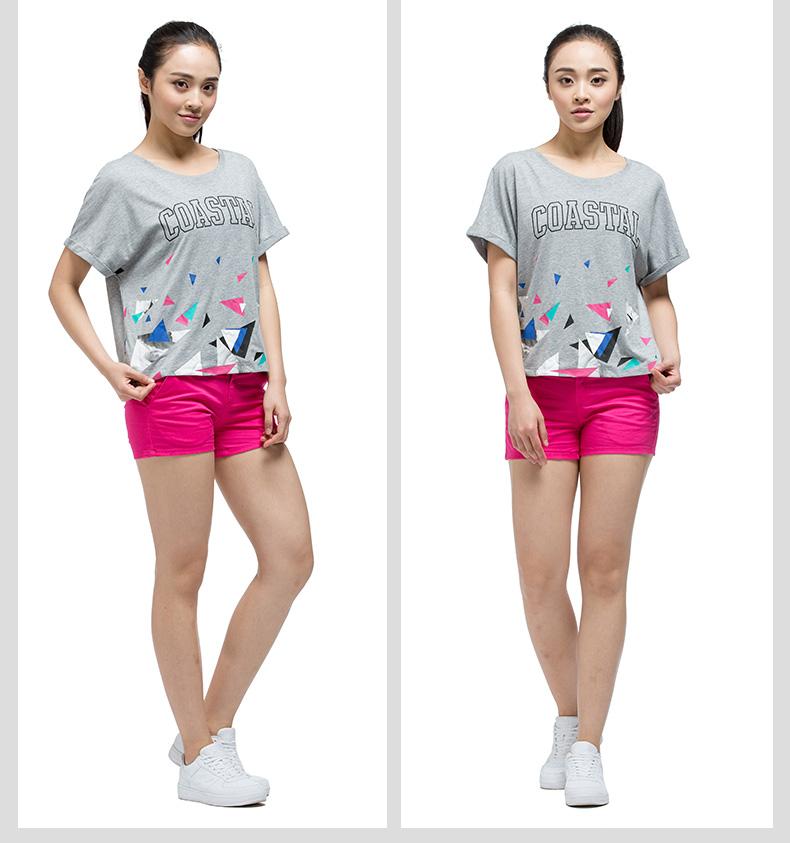 特步 专柜款 女子夏季T恤 潮流几何印花针织衫短袖983228011740-