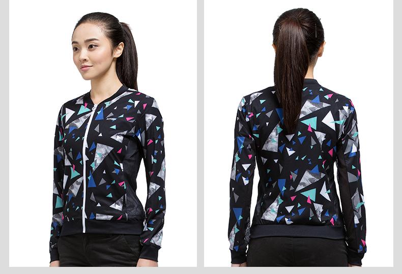 特步 女子夏季夹克 2017新品迷彩校园休闲 拉链时尚夹克983228110051-