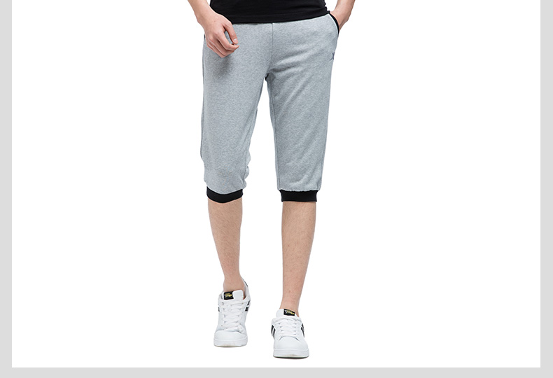 特步 专柜款 男七分裤17夏季新品 纯色百搭舒适男针织裤983229620220-
