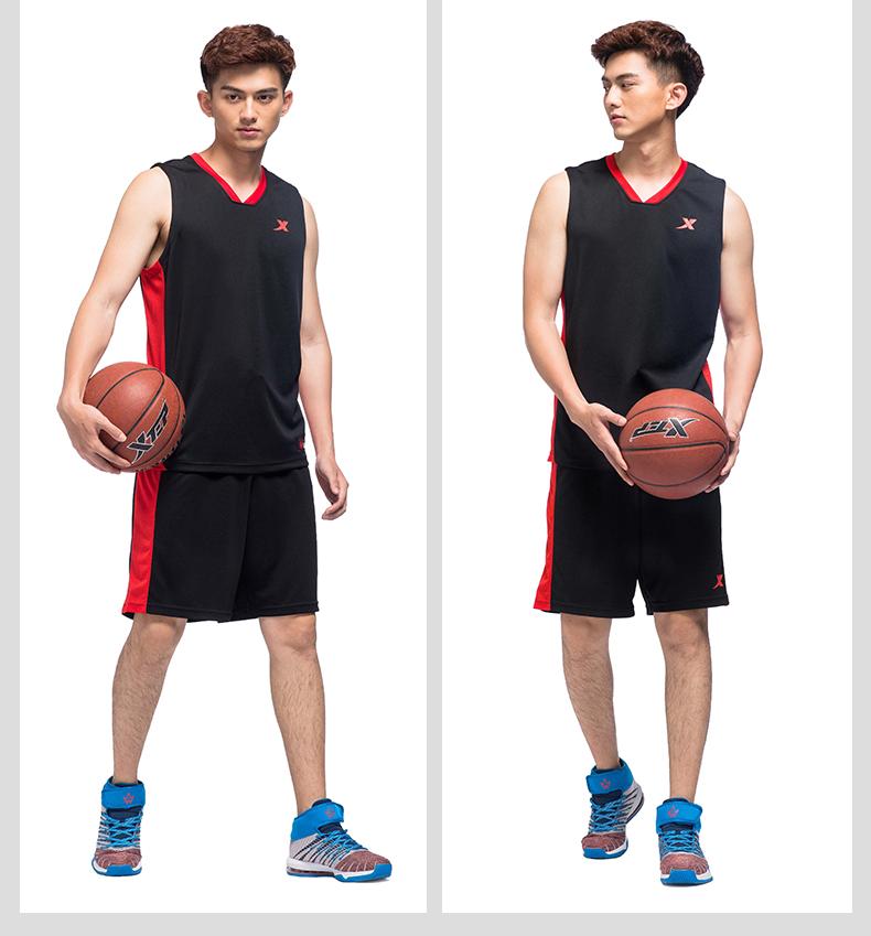 特步 专柜款 男子夏季篮球套装 17新品 吸湿排汗 球服两件套983229680007-