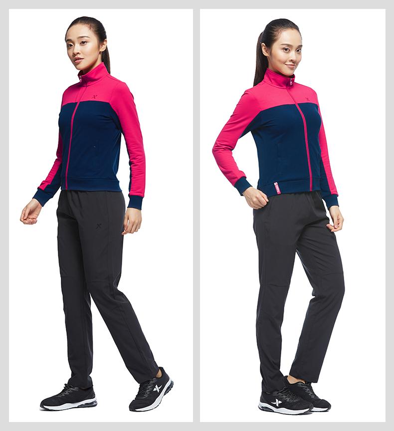 特步 专柜款 女子针织上衣2017秋季新品 综训系列时尚休闲舒适外套983328061337-
