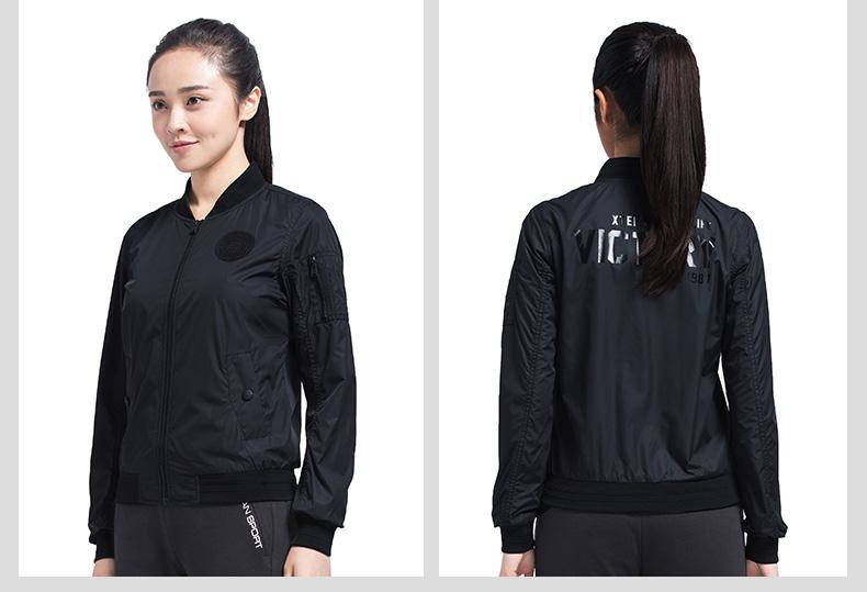 特步 专柜款 女子秋季夹克 17新品 潮流个性 百搭女外套983328120763-