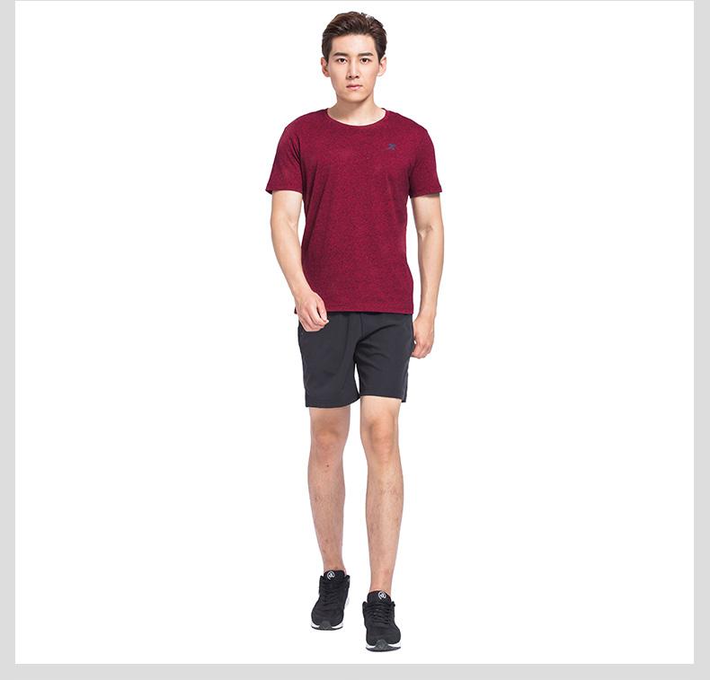 特步 专柜款 男子运动T恤 17新品吸湿透气 跑步健身短袖针织衫983329011927-