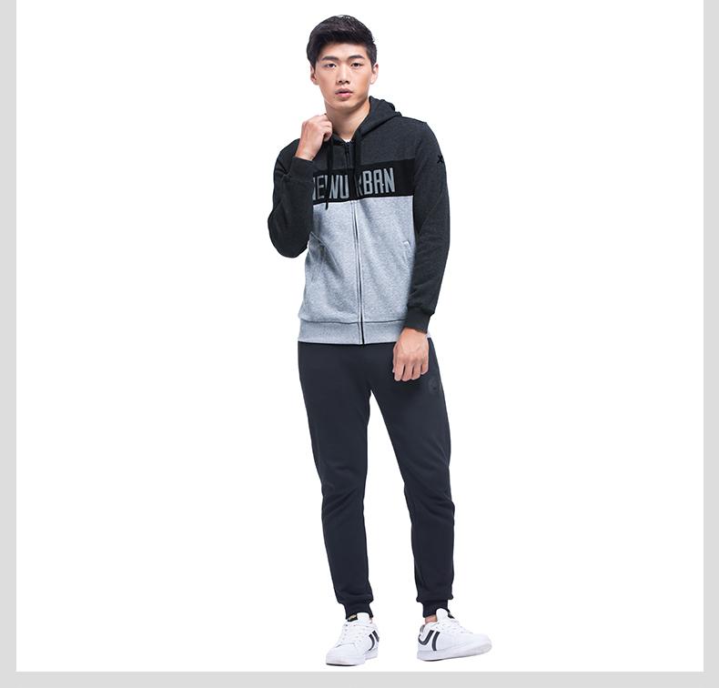特步 专柜款 男子针织上衣2017秋季新品 都市系列连帽潮流时尚外套983329061376-