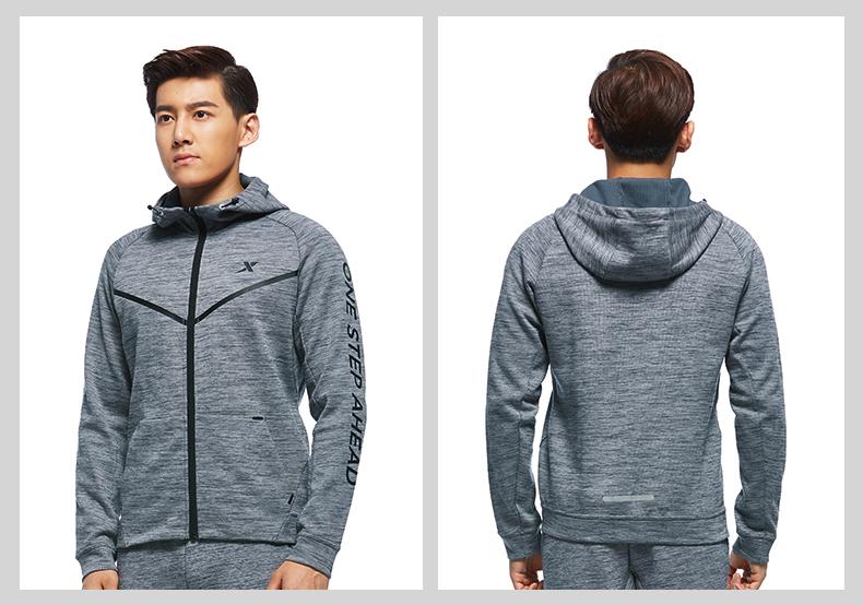 特步 专柜款 男子针织上衣2017秋季新品 跑步系列运动舒适外套983329061431-