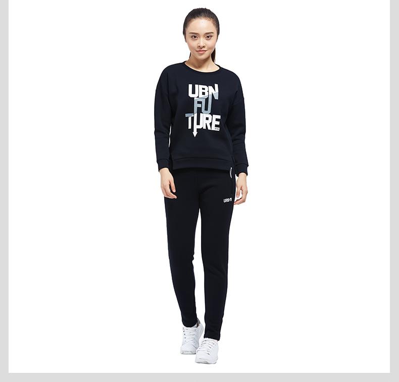 特步 专柜款 女子卫衣2017秋冬新品 都市系列休闲舒适字母时尚百搭套头长袖983428051550-