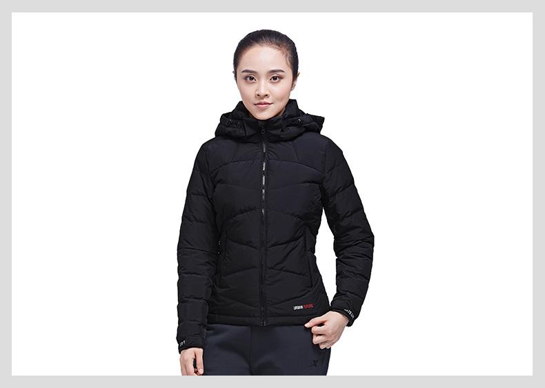 特步 专柜款 女子羽绒服冬季款 都市保暖百搭连帽外套983428190695-