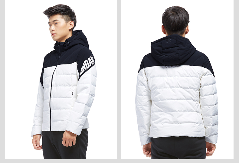 特步 专柜款 男子羽绒服2017冬季新款 都市系列时尚保暖拼接撞色加厚连帽外套983429190674-