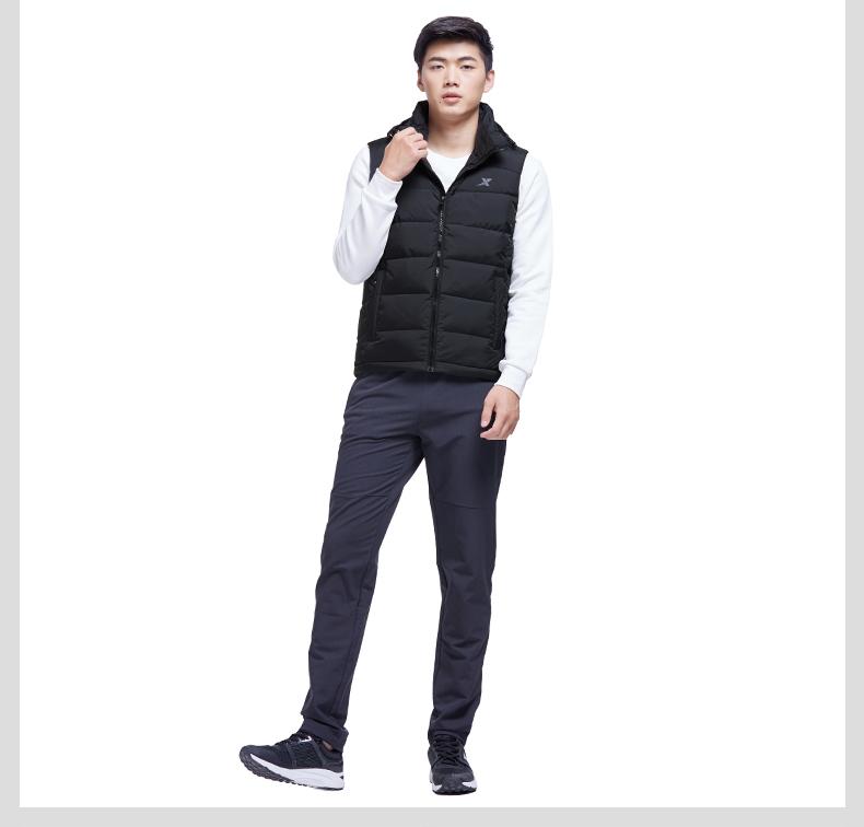 特步 专柜款  男子羽绒马甲2017冬季新款  综训系列保暖轻便舒适马甲外套983429260030-