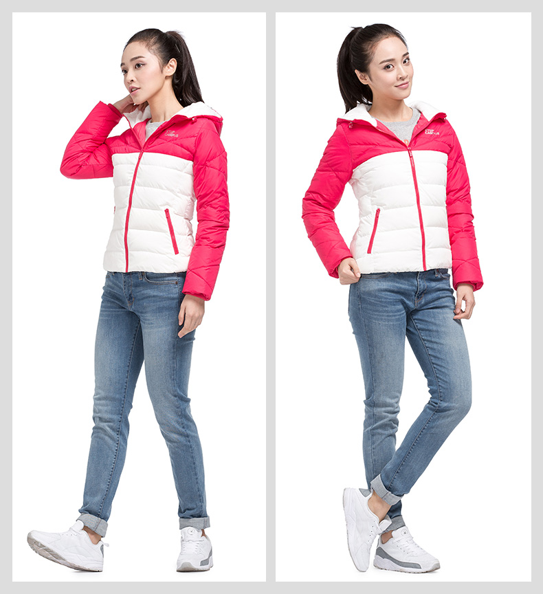 特步专柜同款 女羽绒服2016冬季新品 拼色简约保暖女外套 984428190519-