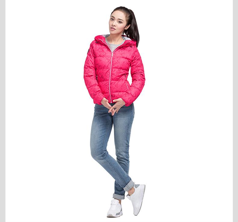 特步 专柜同款 冬季女子羽绒服 2016年新款保暖抗寒 时尚印花连帽外套984428190532-
