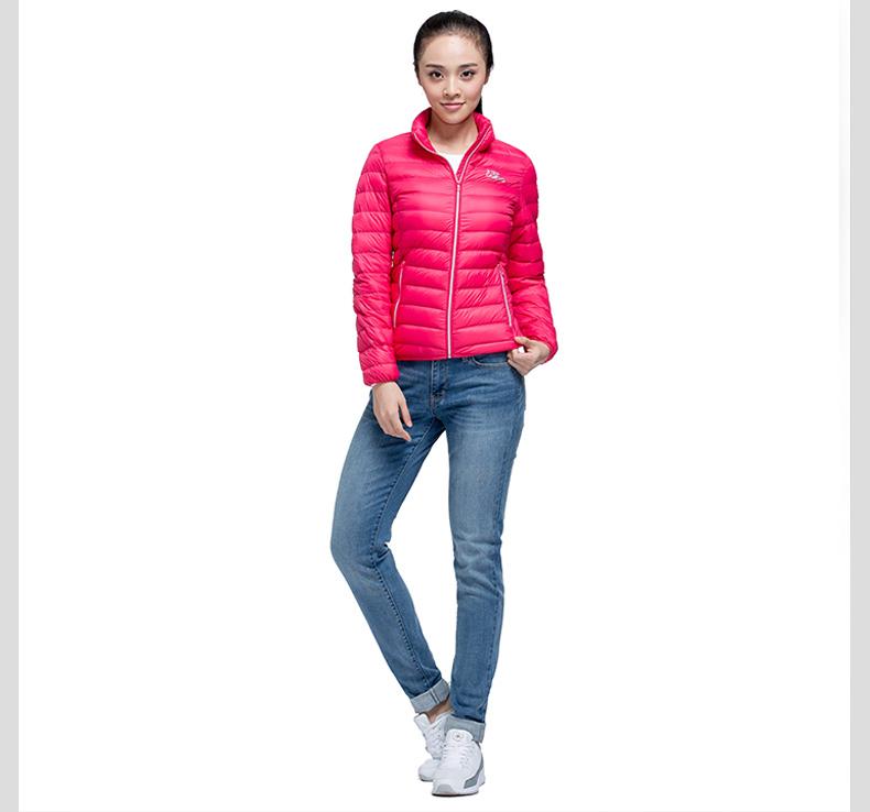 特步专柜同款 2016冬季新品女羽绒服 纯色百搭保暖女外套984428190569-