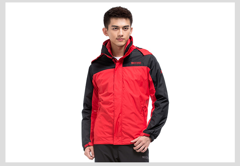 特步 专柜同款 冬季男子双层风衣 可拆卸保暖外套984429230037-
