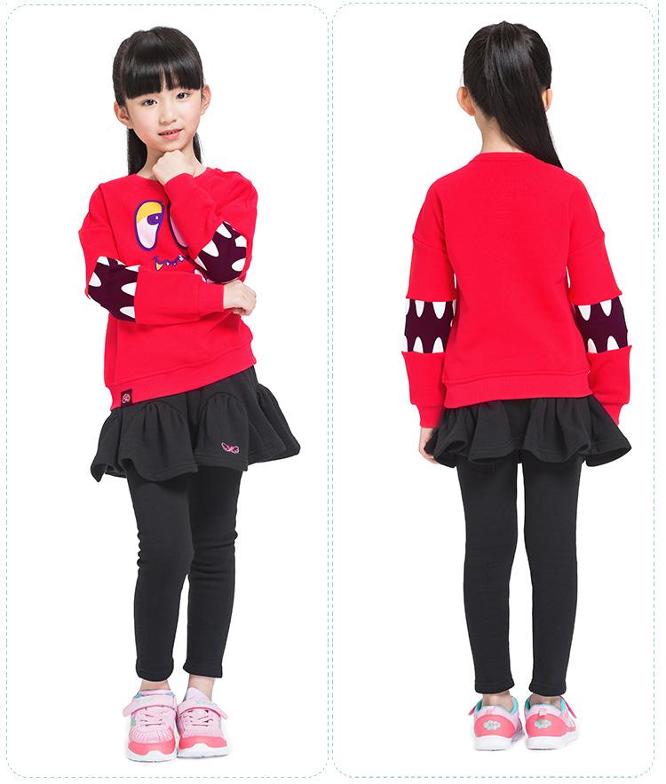 特步专柜同款 秋冬女童卫衣  百搭潮流舒适套头女童长袖685424050099-