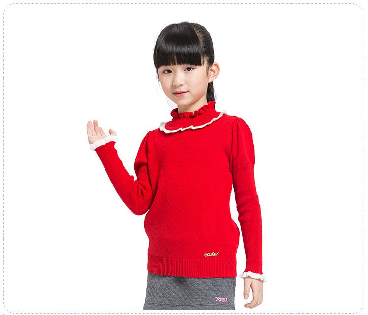 特步专柜同款 秋冬女童毛衫 简约时尚圆领亲肤女童上衣685424100093-