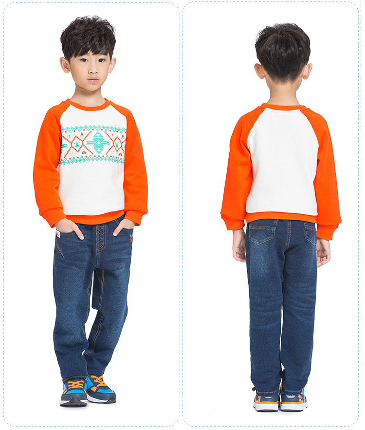 特步 专柜同款 男童卫衣 纯棉圆领休闲舒适 男童长袖衫685425050150-