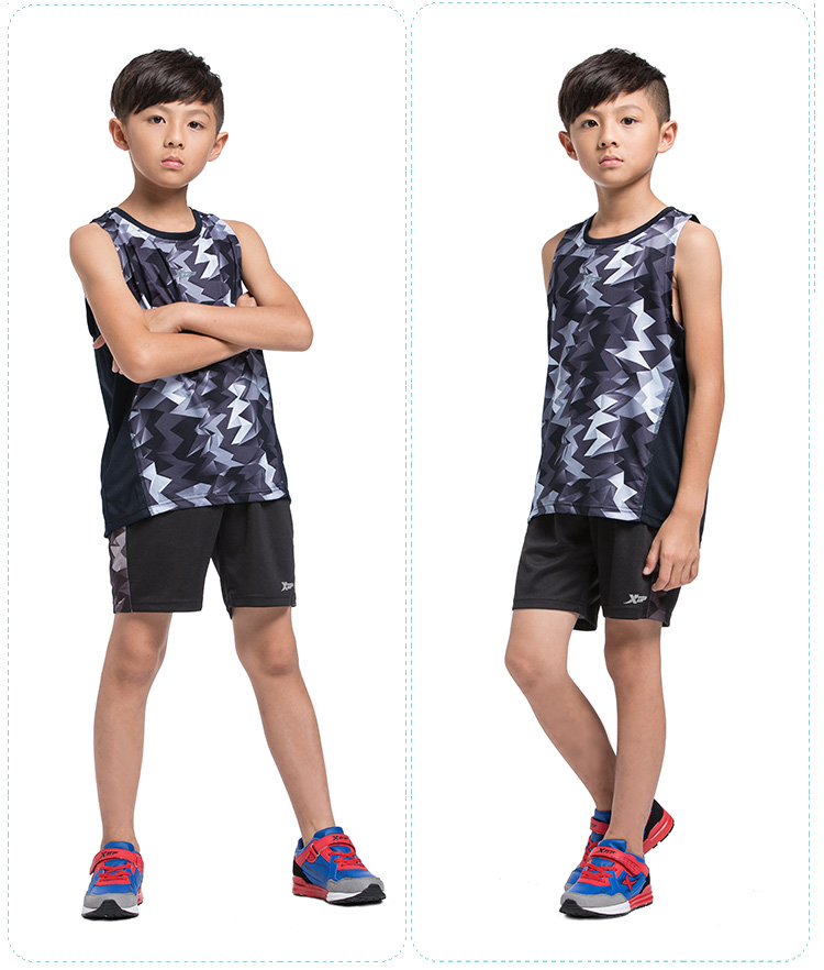特步 男童运动套装 时尚运动篮球服 短袖儿童套装884225829148